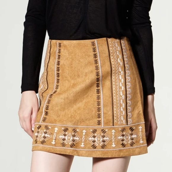 ✨Tan Faux Suede Boho Skirt